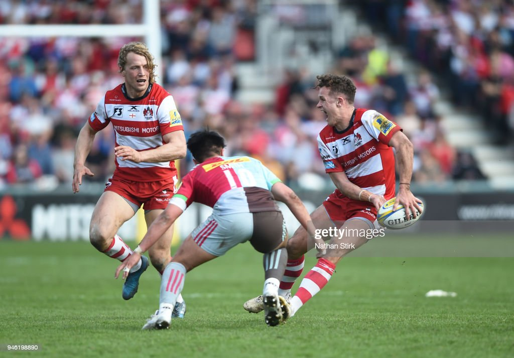 Billy Burns of Gloucester in action during the Aviva Premiership match between Gloucester Rugby and Harlequins at Kingsholm Stadium on April 14, 2018 in Gloucester, England.