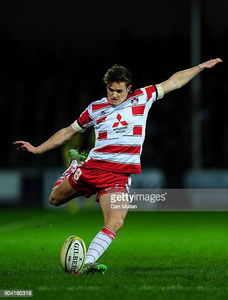 Billy Burns of Gloucester kicks a conversion during the Aviva Premiership match between Exeter Chiefs and Gloucester Rugby at Sandy Park on January 9...