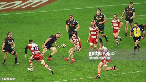 Billy Burns of Gloucester passes the ball during the Aviva Premiership Big Game 9 match between Harlequins and Gloucester Rugby at Twickenham Stadium...
