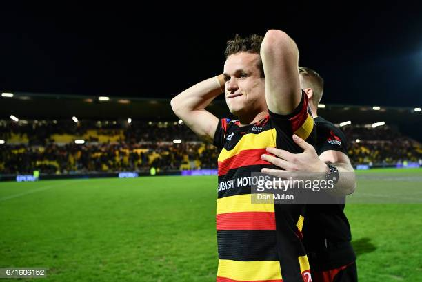 Billy Burns of Gloucester reacts following his side's victory during the European Rugby Challenge Cup Semi Final match between La Rochelle and...