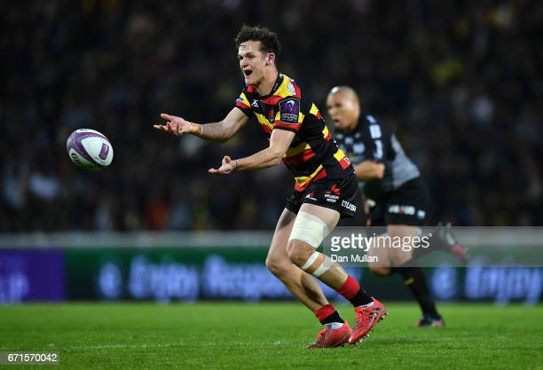 Billy Burns of Gloucester releases a pass during the European Rugby Challenge Cup Semi Final match between La Rochelle and Gloucester Rugby at the...