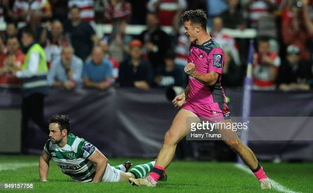 Billy Burns of Gloucester Rugby celebrates after scoring a try during the European Challenge Cup SemiFinal match between Gloucester Rugby and...