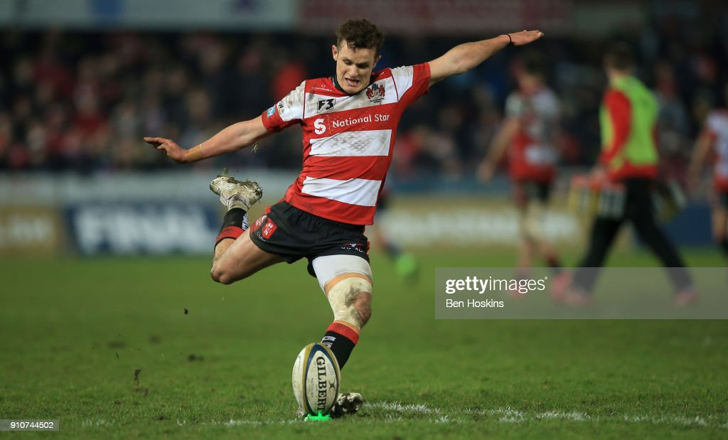 Billy Burns of Gloucester successfully kicks at goal during the Anglo-Welsh Cup match between Gloucester Rugby and Ospreys at Kingsholm Stadium on January 26, 2018 in Gloucester, England.