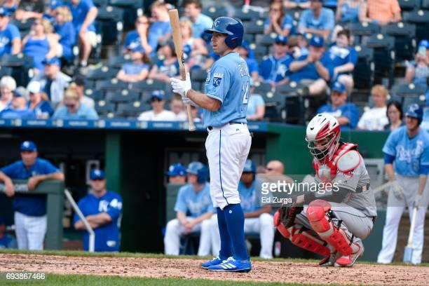 Billy Burns of the Kansas City Royals bats against the Cleveland Indians at Kauffman Stadium on June 4 2017 in Kansas City Missouri