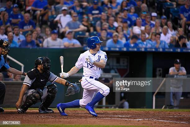 Billy Burns of the Kansas City Royals hits against the Chicago White Sox at Kauffman Stadium on August 11 2016 in Kansas City Missouri