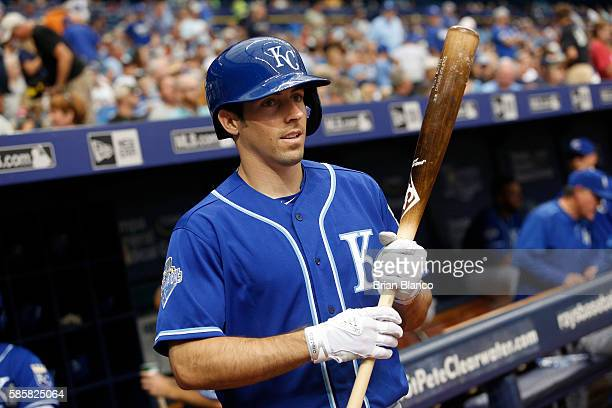 Billy Burns of the Kansas City Royals makes his way out of the dugout to bat during the seventh inning of a game against the Tampa Bay Rays on August...