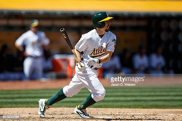 Billy Burns of the Oakland Athletics at bat against the Kansas City Royals during the third inning at the Oakland Coliseum on April 17 2016 in...
