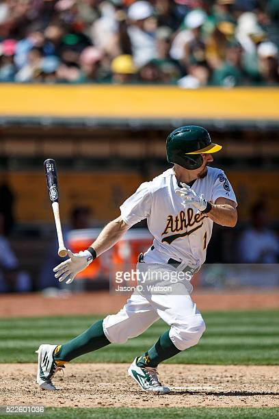 Billy Burns of the Oakland Athletics at bat against the Kansas City Royals during the fifth inning at the Oakland Coliseum on April 17 2016 in...