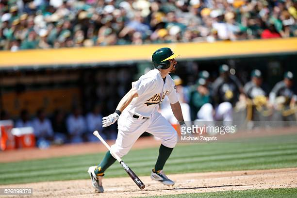 Billy Burns of the Oakland Athletics bats during the game against the Kansas City Royals at the Oakland Coliseum on April 17 2016 in Oakland...