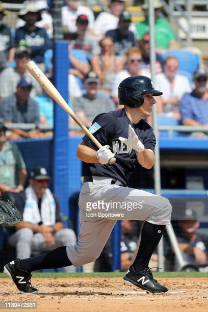 Billy Burns of the Yankees at bat during the spring training game between the New York Yankees and the Toronto Blue Jays on March 14 at the Dunedin...
