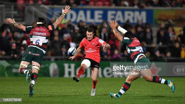 Billy Burns of Ulster and Guy Thompson of Leicester Tigers during the Champions Cup match between Ulster Rugby and Leicester Tigers at Kingspan...