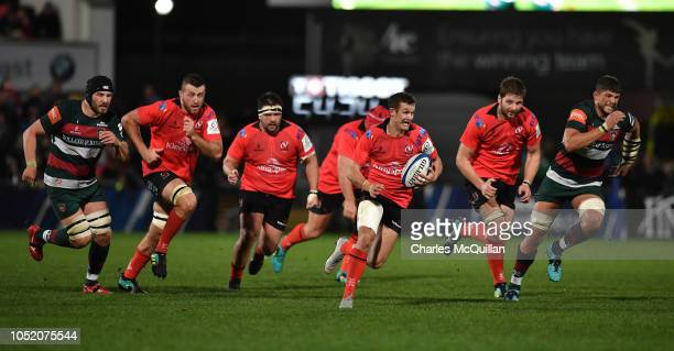 Billy Burns of Ulster during the Champions Cup match between Ulster Rugby and Leicester Tigers at Kingspan Stadium on October 13 2018 in Belfast...