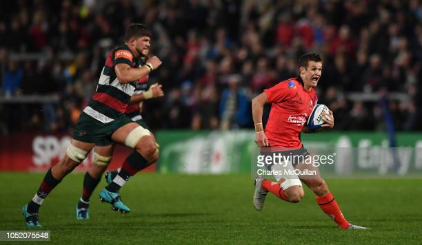 Billy Burns of Ulster during the Champions Cup match between Ulster Rugby and Leicester Tigers at Kingspan Stadium on October 13, 2018 in Belfast,...