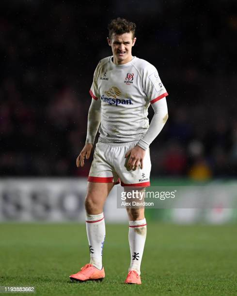 Billy Burns of Ulster looks on during the Heineken Champions Cup Round 4 match between Harlequins and Ulster Rugby at Twickenham Stoop on December...