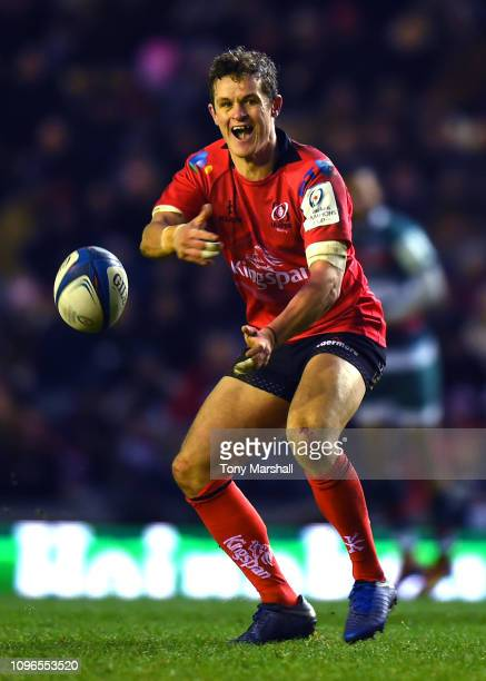 Billy Burns of Ulster Rugby passes the ball during the Champions Cup match between Leicester Tigers and Ulster Rugby at Welford Road Stadium on...