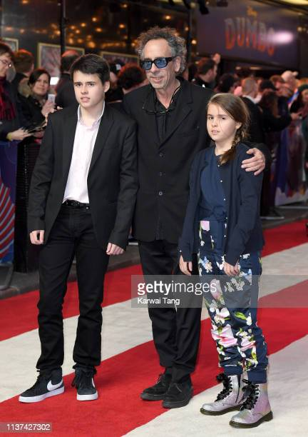 Billy Burton Tim Burton and Nell Burton attend the European premiere of 'Dumbo' at The Curzon Mayfair on March 21 2019 in London England