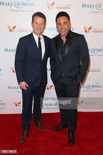 Billy Bush and Oscar De La Hoya arrive at the MakeAWish Greater Los Angeles Annual Wishing Well Winter Gala at the Beverly Wilshire Four Seasons...