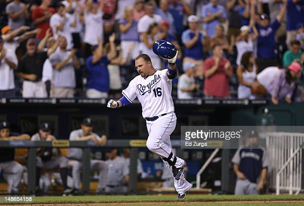 Billy Butler of the Kansas City Royals celebrates his gamewinning home run during a game against the Seattle Mariners in the ninth inningat Kauffman...