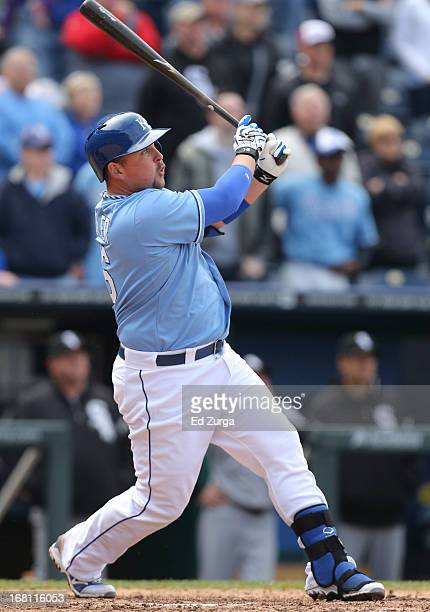 Billy Butler of the Kansas City Royals hits a tworun double against the Chicago White Sox in the ninth inning at Kauffman Stadium on May 5 2013 in...