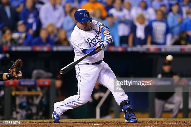 Billy Butler of the Kansas City Royals hits an RBI single in the sixth inning against the San Francisco Giants during Game Two of the 2014 World...