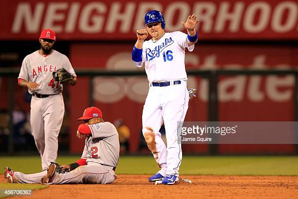 Billy Butler of the Kansas City Royals reacts after stealing second base against Erick Aybar of the Los Angeles Angels in the third inning during...