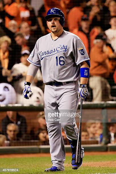 Billy Butler of the Kansas City Royals reacts after striking out against the San Francisco Giants during Game Five of the 2014 World Series at ATT...