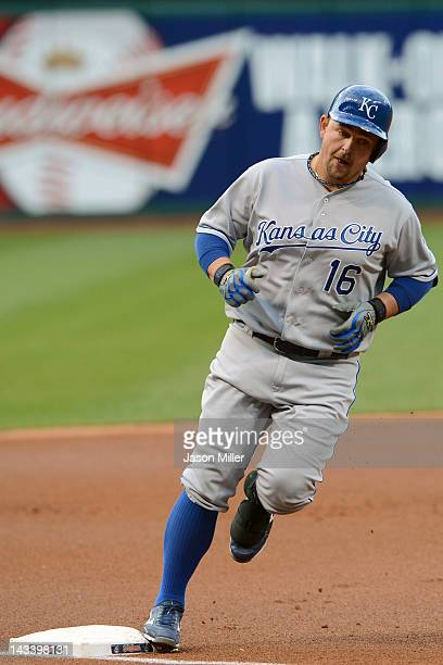 Billy Butler of the Kansas City Royals rounds third base after hitting a tworun home run during the first inning against the Cleveland Indians at...