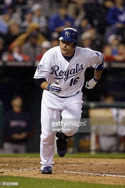 Billy Butler of the Kansas City Royals runs to first base against the Boston Red Sox during the game on September 21, 2009 at Kauffman Stadium in...
