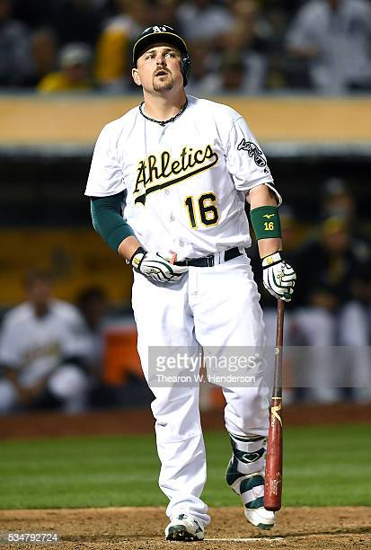 Billy Butler of the Oakland Athletics reacts after he struck out swinging against the Detroit Tigers in the bottom of the eighth inning at Oco...