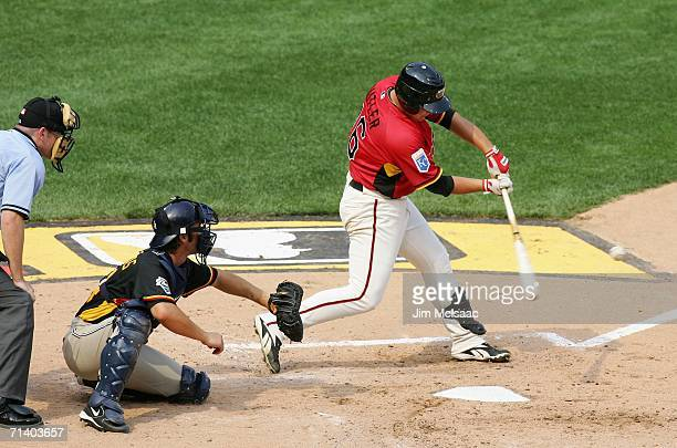 Billy Butler of the U.S.A. Team hits a 2 run home run against the World Team during the XM Satellite Radio All-Star Futures Game at PNC Park on July...
