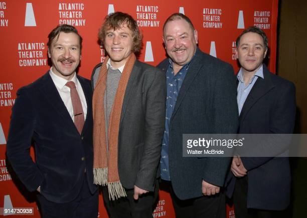 Billy Carter Johnny Flynn Mark Addy and Reece Shearsmith attend the 'Hangmen' Opening Night After Party at the The Gallery at the Dream Downtown on...