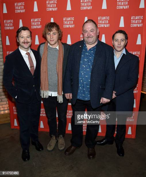 Billy Carter Johnny Flynn Mark Addy and Reece Shearsmith attends 'Hangmen' Opening Night After Party at Dream Downtown on February 5 2018 in New York...
