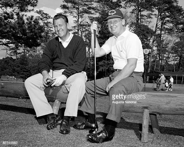 Billy Casper and Bill Maxwell sit on a bench during the 1958 Masters Tournament at Augusta National Golf Club held April 36 1958 in Augusta Georgia