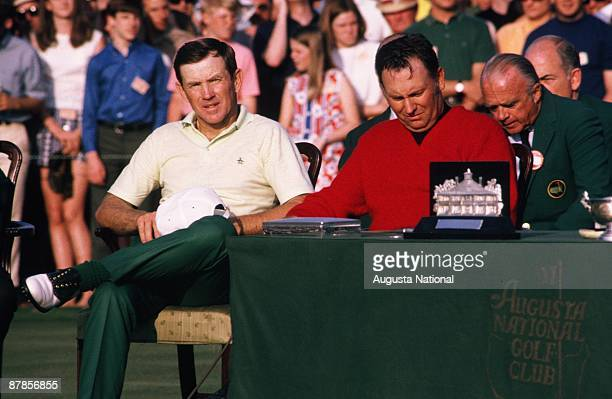 Billy Casper and Gene Littler at the Presentation Ceremony after the 1970 Masters Tournament at Augusta National Golf Club on April 13 1970 in...