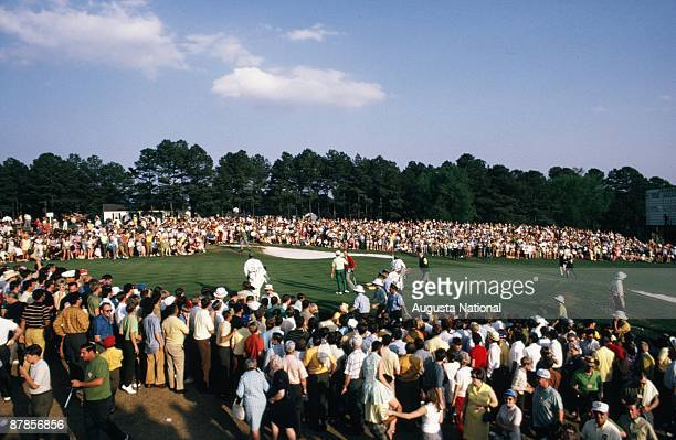 Billy Casper and Gene Littler battle it out during a playoff on the 18th hole during the 1970 Masters Tournament at Augusta National Golf Club in...