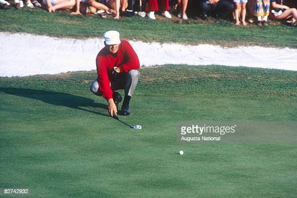 Billy Casper lines up a putt during the 1970 Masters Tournament at Augusta National Golf Club in April 1970 in Augusta Georgia