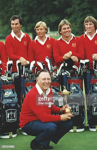 Billy Casper of the USA laughs as he lifts the Ryder Cup trophy during a photocall at the Ryder Cup at The Greenbrier Club on 14th September 1979 at...
