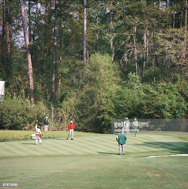 Billy Casper on the 11th green during the 1970 Masters Tournament at Augusta National Golf Club in April 1970 in Augusta Georgia