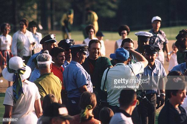 Billy Casper poses for photographs after the 1970 Masters Tournament at Augusta National Golf Club in April 1970 in Augusta Georgia