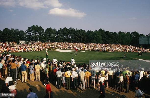 Billy Casper putts on 18 to win during the 1970 Masters Tournament at Augusta National Golf Club in April 1970 in Augusta Georgia