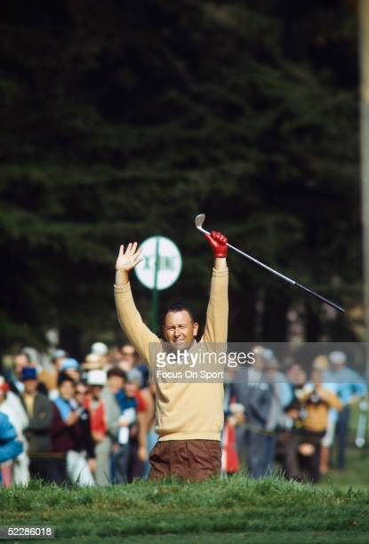 Billy Casper reacts after hitting his ball out of the bunker and into the hole during the 2nd round of the US Open in June of 1966 at Olympic Country...