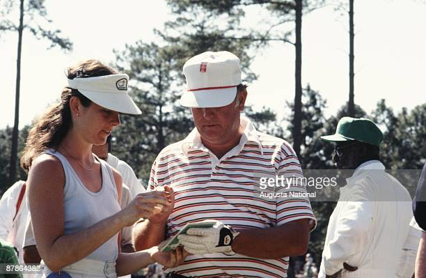 Billy Casper signs autographs during the 1978 Masters Tournament at Augusta National Golf Club on April 1978 in Augusta Georgia