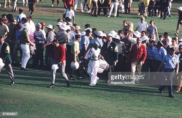 Billy Casper strolls up the fairway during the 1970 Masters Tournament at Augusta National Golf Club in April 1970 in Augusta Georgia