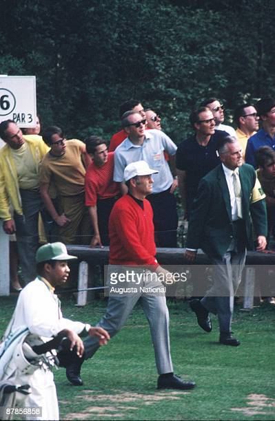 Billy Casper walks off the 16th tee during the 1970 Masters Tournament at Augusta National Golf Club in April 1970 in Augusta Georgia