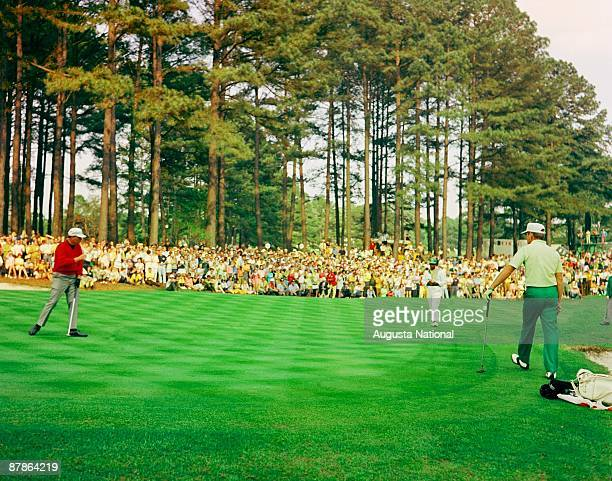 Billy Casper watches his putt on the third green during the 1970 Masters Tournament at Augusta National Golf Club in April 1970 in Augusta Georgia