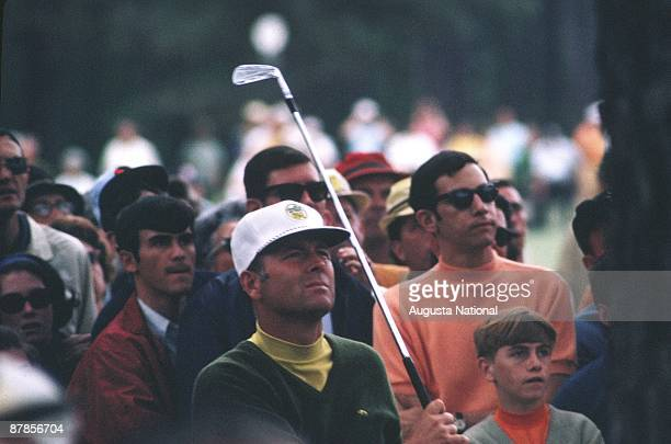Billy Casper watches his shot during the 1969 Masters Tournament at Augusta National Golf Club in April 1969 in Augusta Georgia