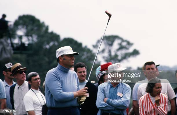 Billy Casper watches his shot during the 1970 Masters Tournament at Augusta National Golf Club in April 1970 in Augusta Georgia