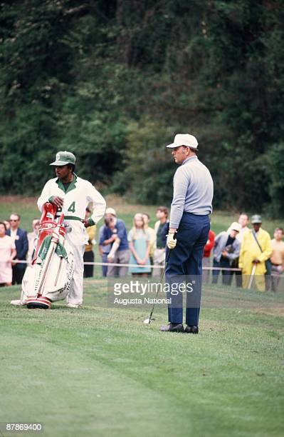 Billy Casper watches his shot during the 1971 Masters Tournament at Augusta National Golf Club in April 1971 in Augusta Georgia
