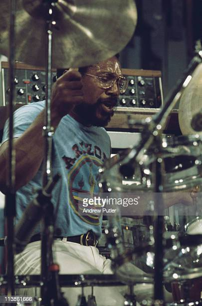 Billy Cobham, Panamanian jazz drummer, playing the drums during a live concert performance at the Montreux Jazz Festival, in Montreux, Switzerland, 6...