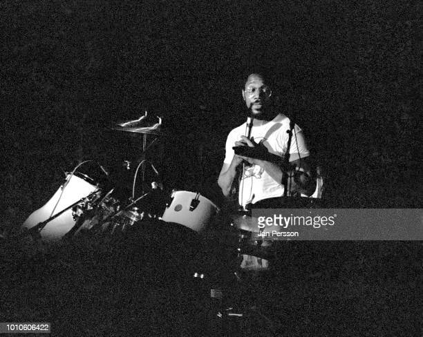 Billy Cobham performing in Copenhagen 1975. American/Panamanian jazz drummer compose and bandleader.